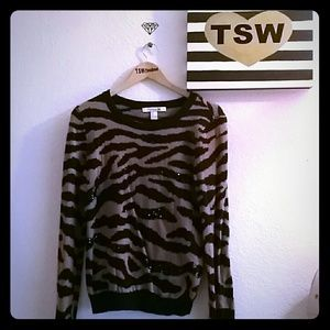 FOREVER 21 Zebra Soft Sweater Blingy brown & black