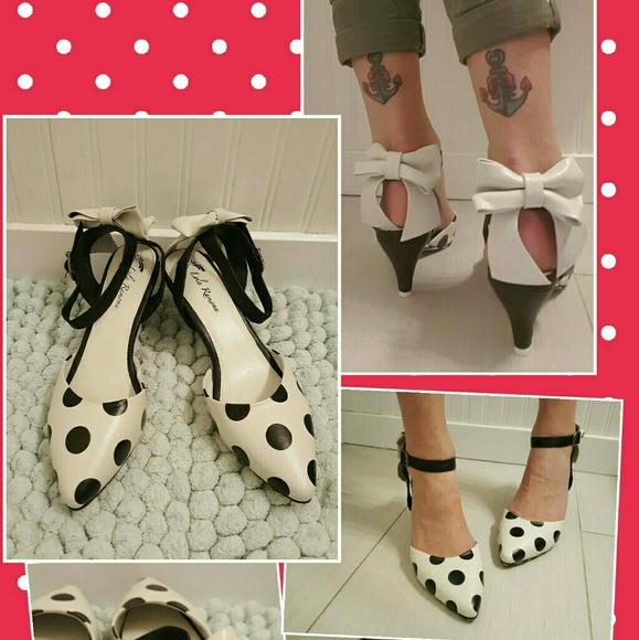 9dd39ddd9b22 Lola Ramona Shoes - Lola Ramona Polka Dot pinup rockabilly heel Bow