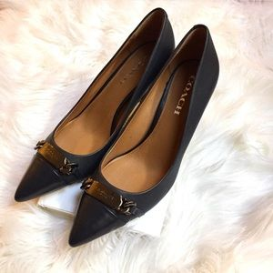 Coach Shoes - Coach Blue Bowery Pointed Toe Heels