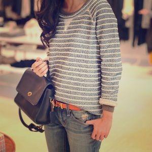Lou & Grey Black & White Stripe Sweater Top.