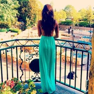 Lulus teal maxi dress 