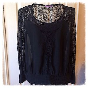 BLACK SHEER BLOUSE WITH LACE ACCENTS-SZ M