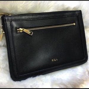 Ralph Lauren zip black leather pouch/ wallet