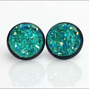 thejeweladdict Jewelry - 3 for 15🎀 teal faux druzy black earrings