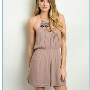Pants - High neck halter romper with embroidered neckline