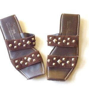 DONALD PLINER brown studded leather SANDALS Shoe 7