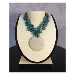 Macy's Jewelry - Teal Beaded Necklace with Pearl like charm
