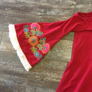 Vava by Joy Han Tops - Groovy top with embroidered bell sleeves