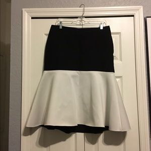 Neoprene fit and flare midi skirt