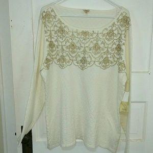 Reba Sweaters - NWT Reba Ivory Lace Embroidery & Rhinestones Top