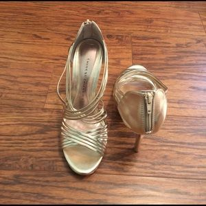 Chinese Laundry Shoes - Strappy gold heels by Chinese Laundry