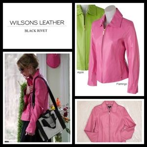 Black Rivet Jackets & Blazers - Black Rivet Bright Leather Jacket flamingo pink