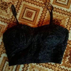 S Black Lacey Crop Top