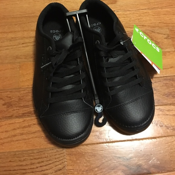 5f40e84e8e33 Crocs Hover All Black Work Shoes Lace up NWT