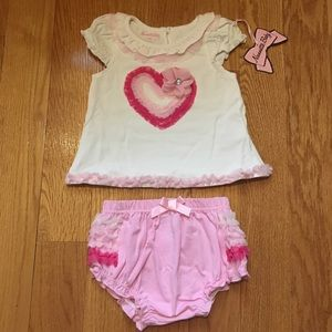 Nannette Other - SALE Appliqué Top with Ruffled Diaper Cover Set