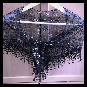 Black lace scarf with silver accents 🎀