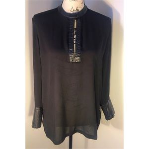 Sheer Blouse with Faux Leather Accents  Sz M