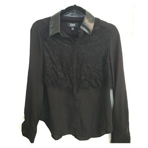 Prabal Gurung leather and lace blouse