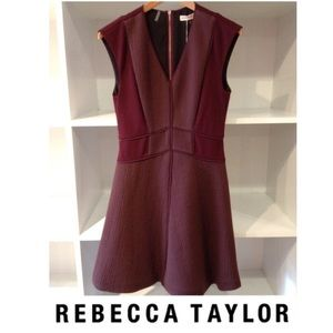 Rebecca Taylor Dresses & Skirts - 🍷Rebecca Taylor Maroon Textured Fit & Flare Dress