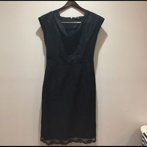 Black linen dress with lace accents