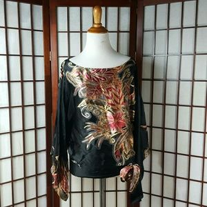 Cache Tops - Floral CACHE Batwing Blouse Top Size XS