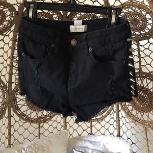 Forever 21 Pants - Black high rise shorts with stud detail - size 24
