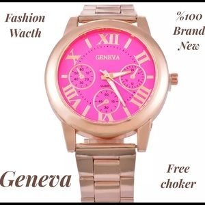 Geneva Platinum Accessories - Geneva hot fashion watch unisex gold +free choker