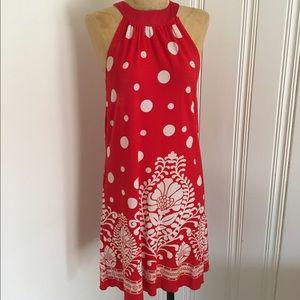 Do & Be Dresses & Skirts - Red & white polka dot damask boutique dress S/M