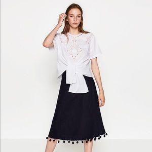 New Zara Wrap Skirt with pom pom size L with tag