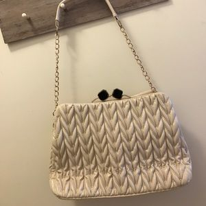 Handbags - Cream oversized ruffle bag