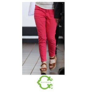 C. Wonder Denim - C. Wonder Bright Red Mid Rise Skinny Jeans