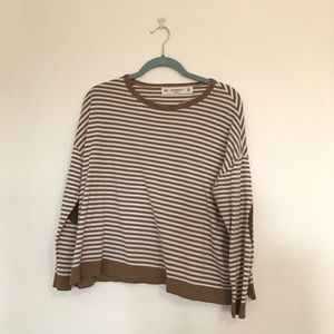 Zara Striped Sweater with Elbow Patches