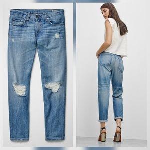 Rag & Bone Boyfriend Jeans Moss with Holes