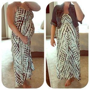 Wendy Bellissimo Dresses & Skirts - Flowy Boho Tie Dye Maternity Maxi Dress