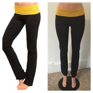 Pants - NEW black and mustard yellow yoga pants