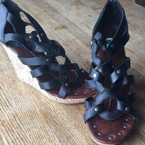 Dolce Vita Shoes - Dolce Vita black leather wedges sandals