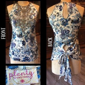 Plenty by Tracy Reese Tops - PLENTY BY TRACY REESE silk beaded blue floral top