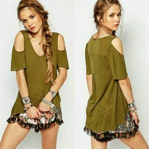 LAST ONE!! Free People Cold Shoulder Tunic Olive