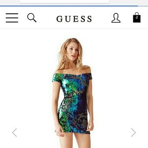 GUESS Off the shoulder mermaid sequin dress