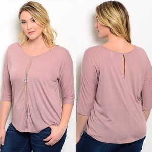 Dusty Rose Lace Detail Keyhole Half Sleeve Top