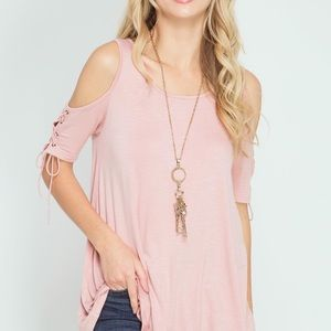 She and Sky Tops - Half Sleeve Top With Lace-Up Sleeves.