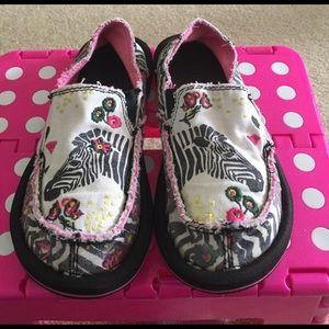 Sanuk Other - Girls Sanuk's Zebra Printed Shoes