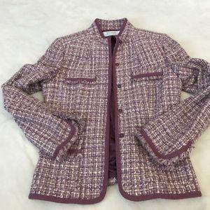 Tahari Jackets & Blazers - Tahari Purple and Cream Tweed Snap Button Blazer