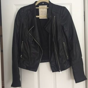 Zara Faux Black Leather Jacket Size Small