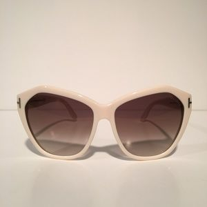Tom Ford Accessories - Tom Ford Angelina White Oval Sunglasses