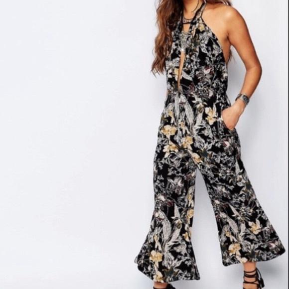 badd1576c48 Free people black Floral halter jumpsuit sz 0