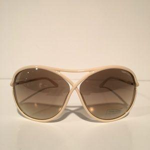 Tom Ford Accessories - Tom Ford Vicky White Oval Sunglasses NIB