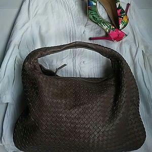 No  Handbags - Boho Style Leather Bag Shoulder/Handbag LargeBrown