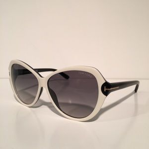 Tom Ford Accessories - Tom Ford Telma Black And White Oval Sunglasses