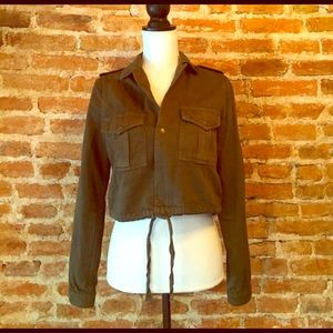 Zara Green Cropped Military Jacket